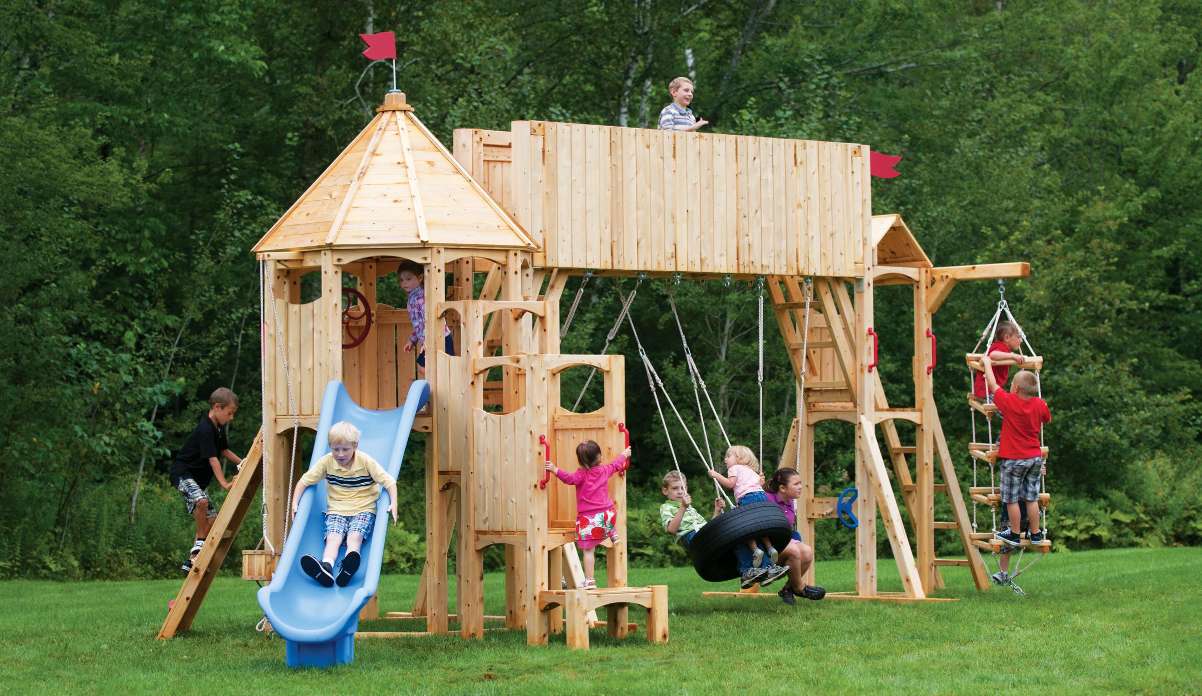 Cedar view swing set wooden 2015 best auto reviews - Columpios para jardin ...